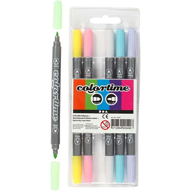 Colortime dobbelttusch, stregtykkelse: 2,3+3,6 mm, pastelfarver, 6stk.