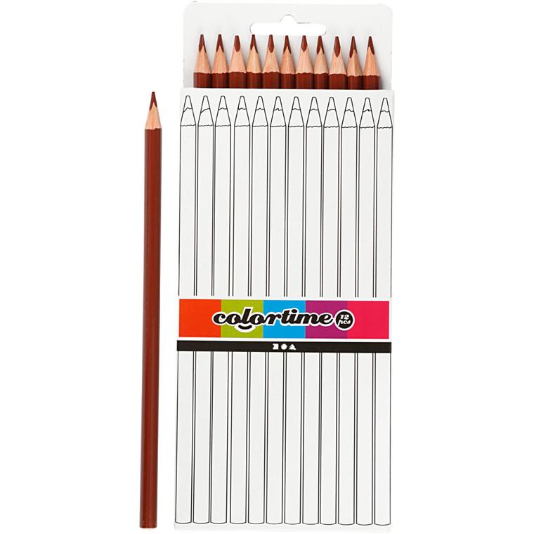 Colortime farveblyanter, mine: 3 mm, L: 17 cm, brun, basic, 12stk.