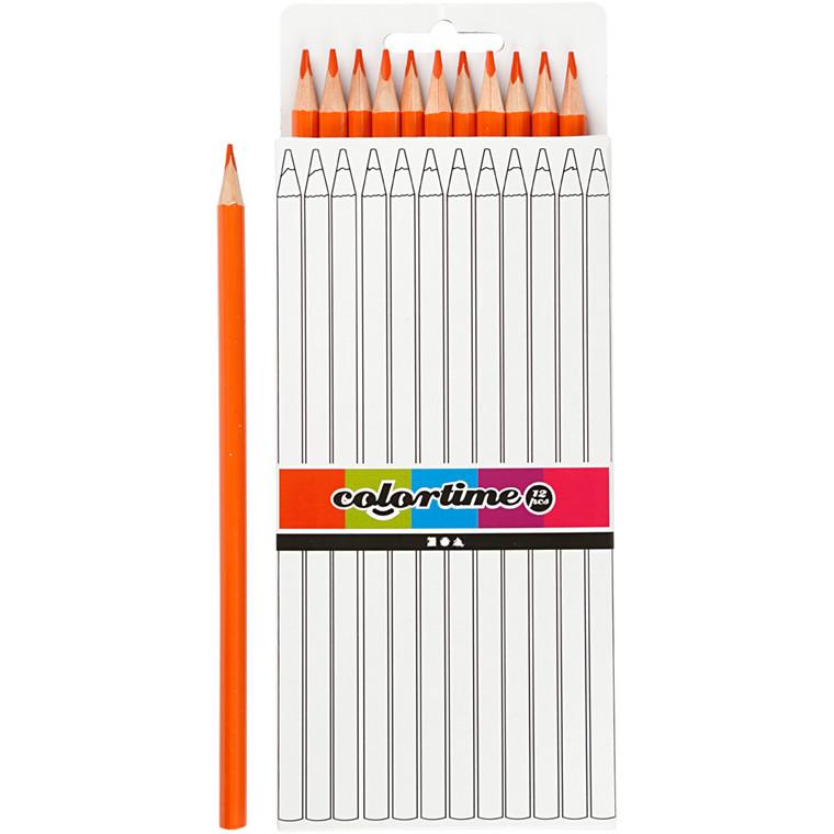 Colortime farveblyanter, mine: 3 mm, L: 17 cm, orange, basic, 12stk.