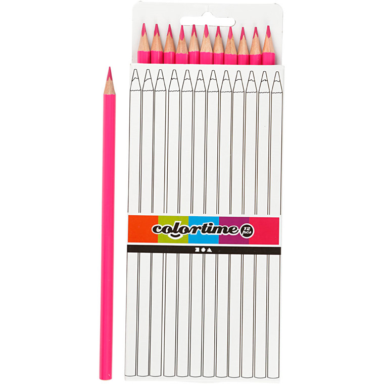 Colortime farveblyanter, mine: 3 mm, L: 17 cm, pink, basic, 12stk.
