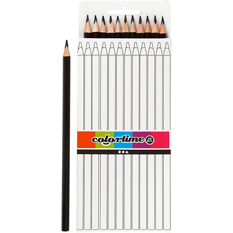 Colortime farveblyanter, mine: 3 mm, L: 17 cm, sort, basic, 12stk.