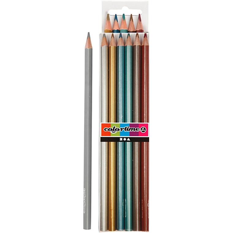 Colortime farveblyanter, mine: 3 mm, metallicfarver, 6stk.