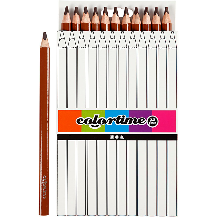 Colortime farveblyanter, mine: 5 mm, brun, , Jumbo, 12stk.