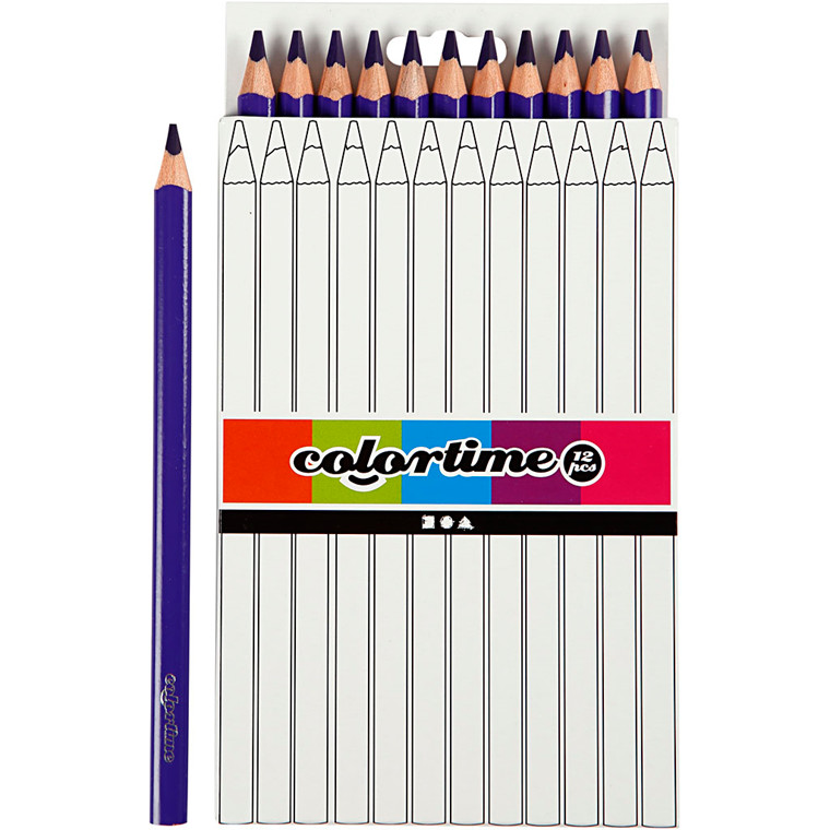 Colortime farveblyanter, mine: 5 mm, lilla, , Jumbo, 12stk.