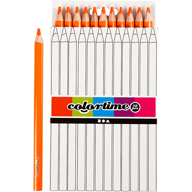 Colortime farveblyanter, mine: 5 mm, orange, , Jumbo, 12stk.