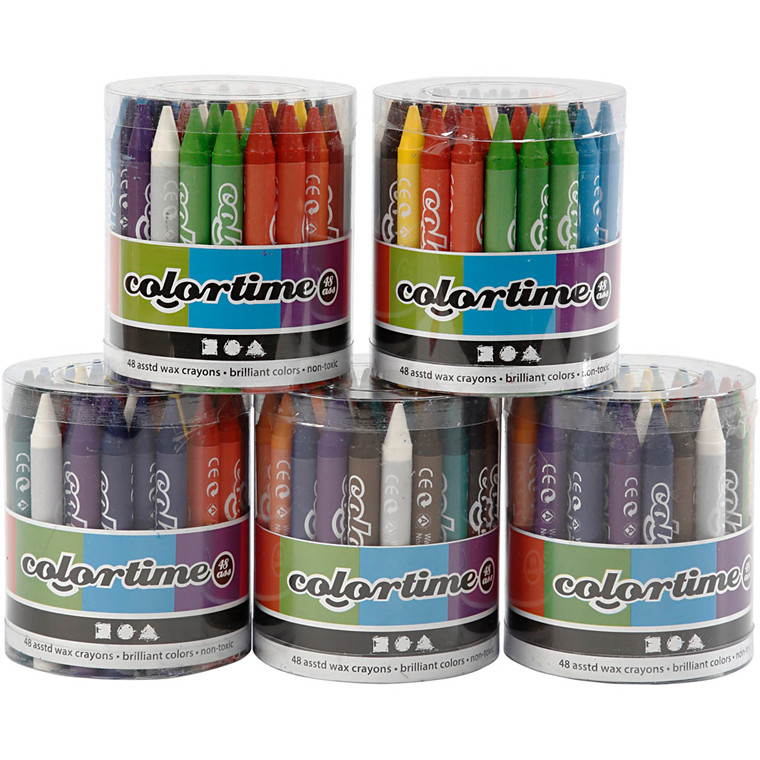 Colortime farvekridt, tykkelse 11 mm, L: 10 cm, 5x48ass.