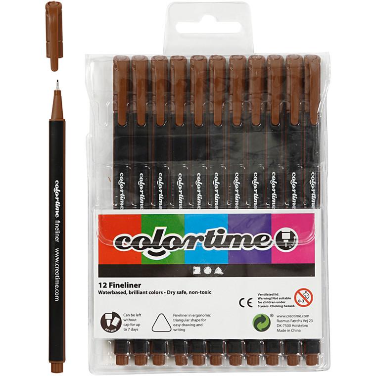 Colortime Fineliner Tusch, stregtykkelse: 0,7 mm, brun, 12stk.