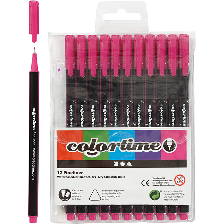 Colortime Fineliner Tusch, stregtykkelse: 0,7 mm, cyklamen, 12stk.