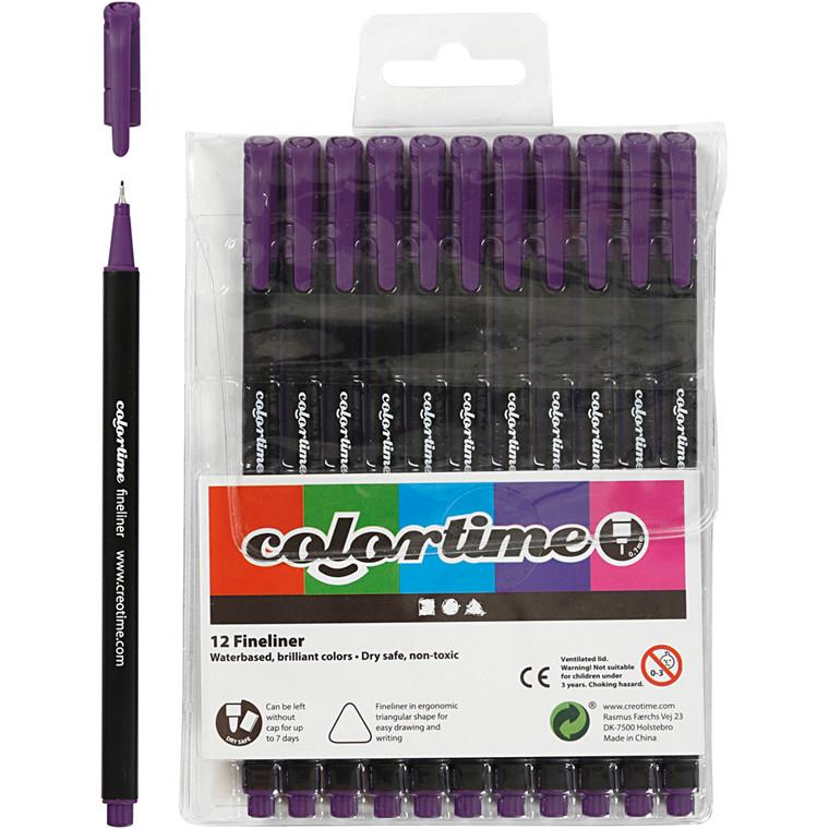 Colortime Fineliner Tusch, stregtykkelse: 0,7 mm, lilla, 12stk.