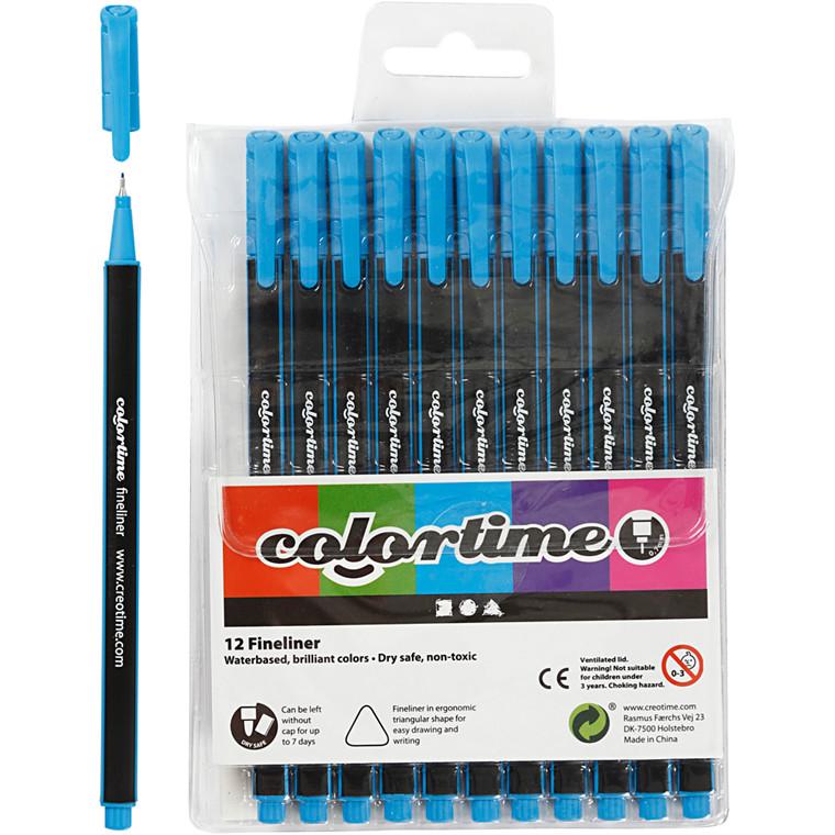 Colortime Fineliner Tusch, stregtykkelse: 0,7 mm, lys blå, 12stk.