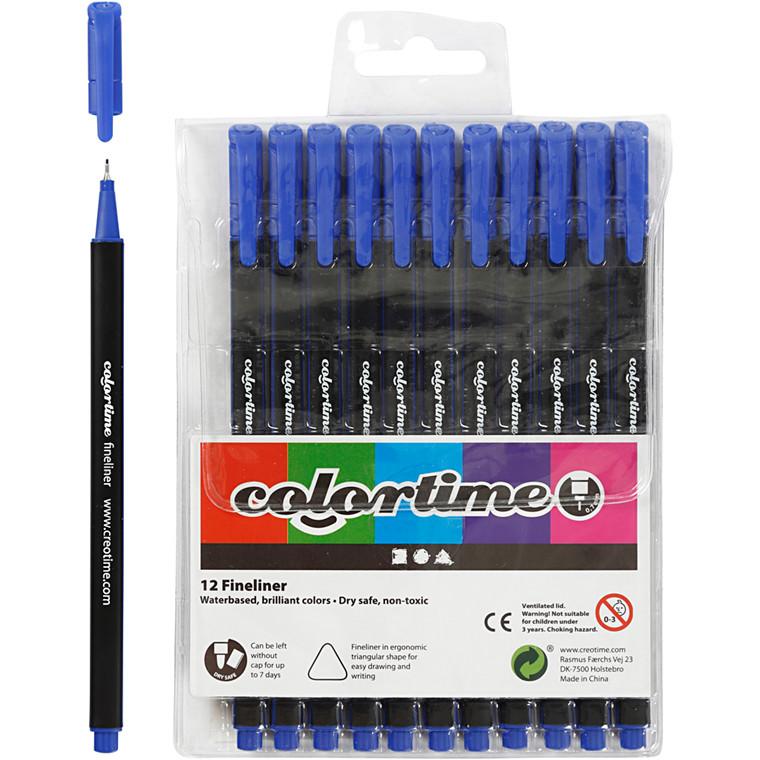 Colortime Fineliner Tusch, stregtykkelse: 0,7 mm, mørk blå, 12stk.