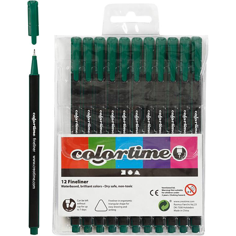 Colortime Fineliner Tusch, stregtykkelse: 0,7 mm, mørk grøn, 12stk.