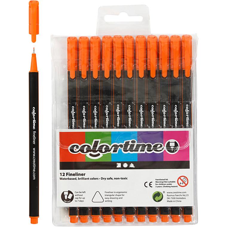 Colortime Fineliner Tusch, stregtykkelse: 0,7 mm, orange, 12stk.