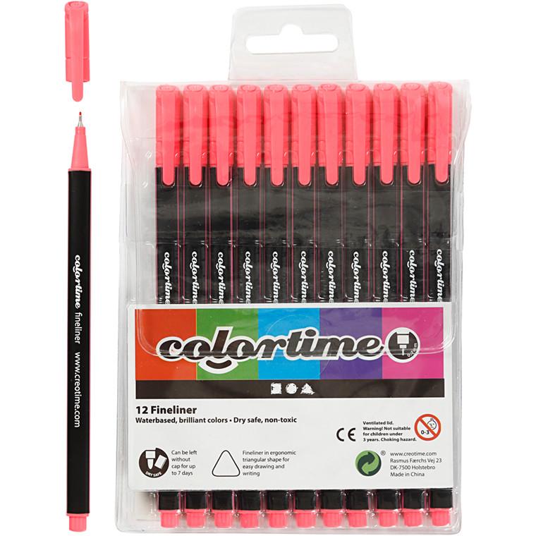 Colortime Fineliner Tusch, stregtykkelse: 0,7 mm, pink, 12stk.