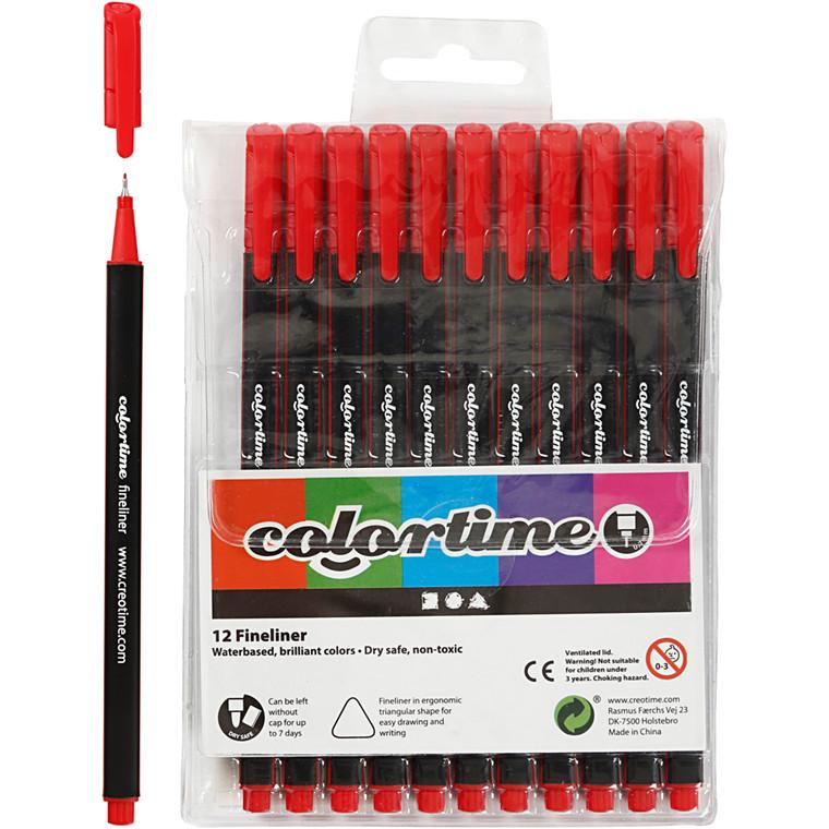 Colortime Fineliner Tusch, stregtykkelse: 0,7 mm, rød, 12stk.