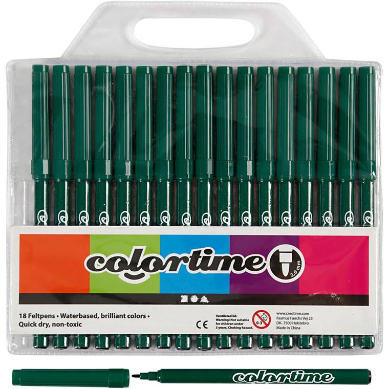 Colortime Tusch, stregtykkelse: 2 mm, mørk grøn, 18stk.