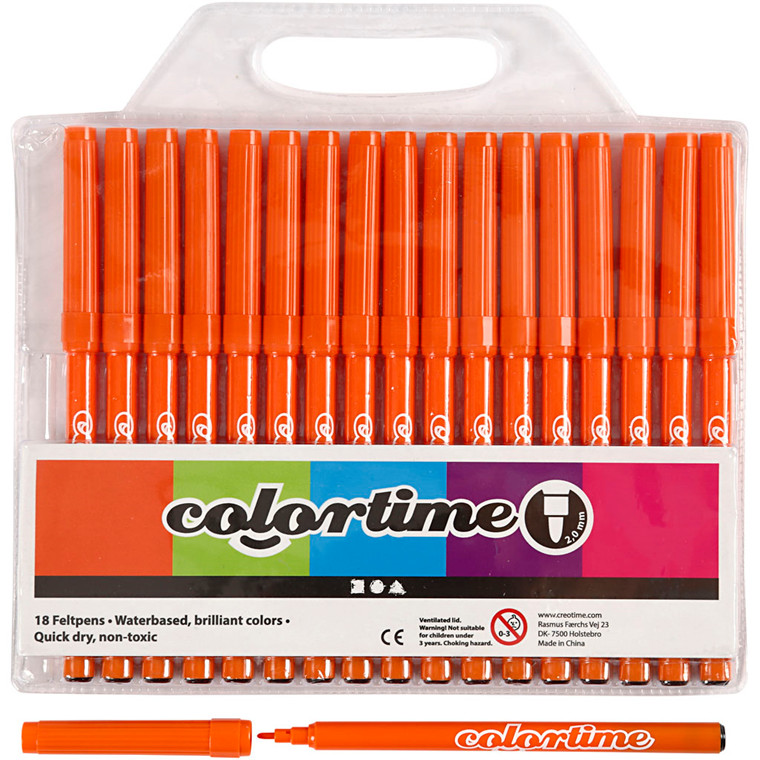 Colortime Tusch, stregtykkelse: 2 mm, orange, 18stk.
