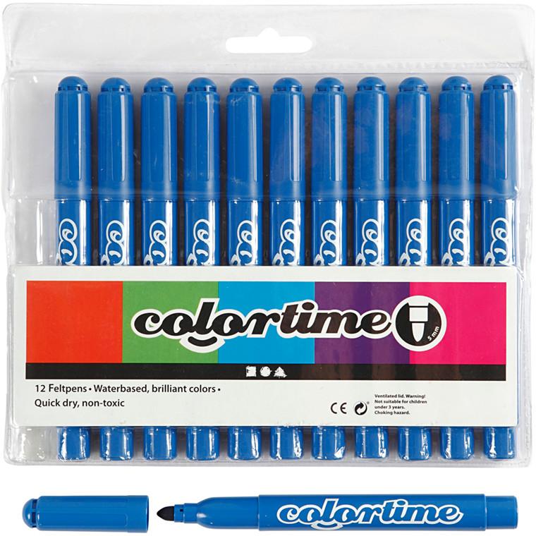 Colortime Tusch, stregtykkelse: 5 mm, azure, 12stk.