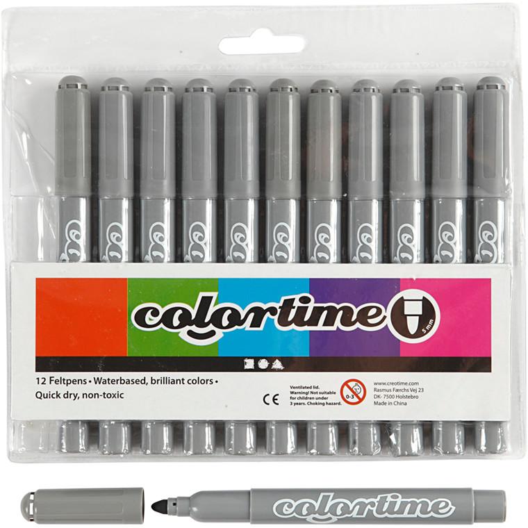 Colortime Tusch, stregtykkelse: 5 mm, grå, 12stk.