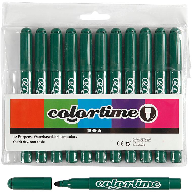 Colortime Tusch, stregtykkelse: 5 mm, grøn, 12stk.