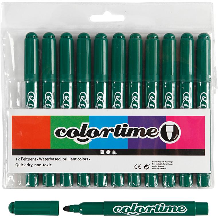 Colortime Tusch, stregtykkelse: 5 mm, mørk grøn, 12stk.