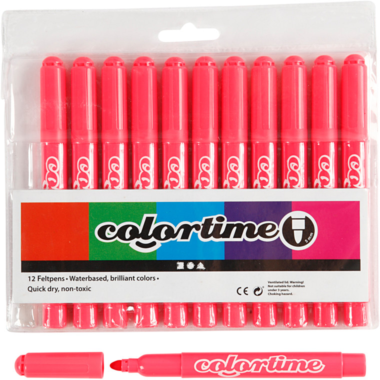 Colortime Tusch, stregtykkelse: 5 mm, pink, 12stk.
