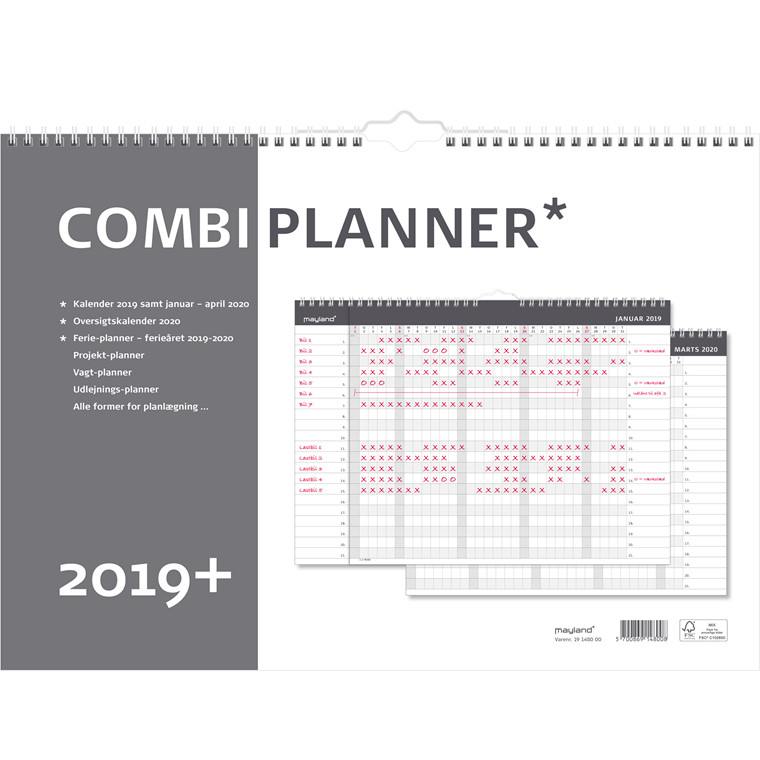 Mayland 2019 Combi-Planner A3 måned 42 x 30 cm - 19 1480 00