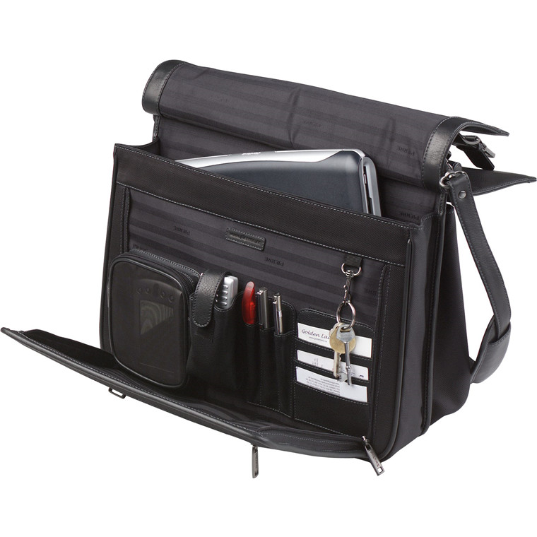 Computertaske m/3 rum sort nylon/læder 43x36x15cm