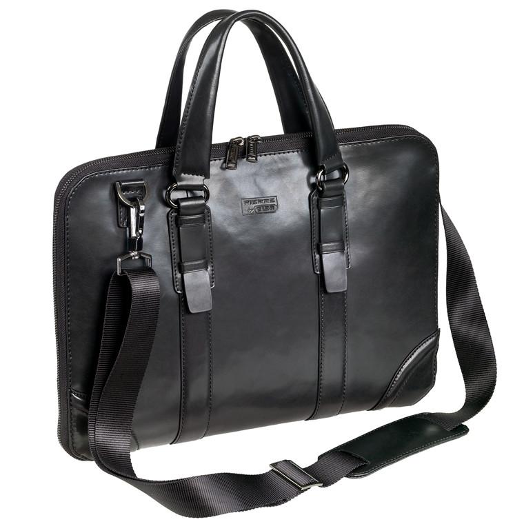Computertaske Pierre Lady Classic Line sort læder