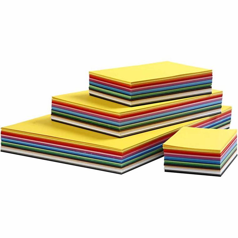 Creativ karton A2 + A3 + A4 + A5 + A6 180 gram assorteret farver - 1800 ark