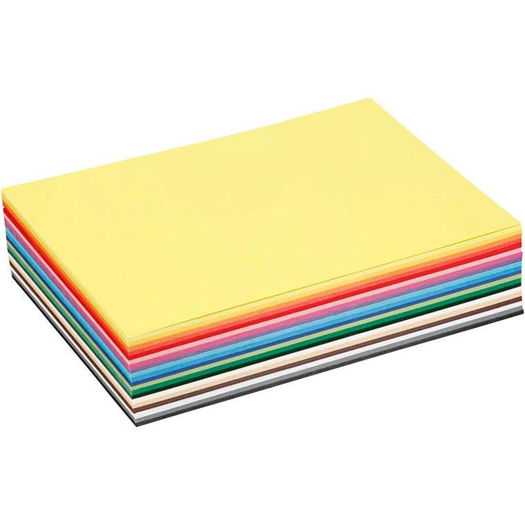 Creativ karton, A5 15x21 cm, 180 g, ass. farver, 60ass. ark