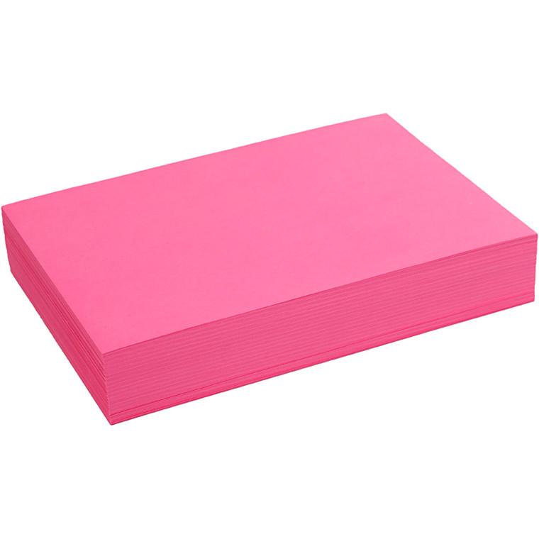 Creativ papir, A4 21x30 cm, 80 g, pink, , 500ark