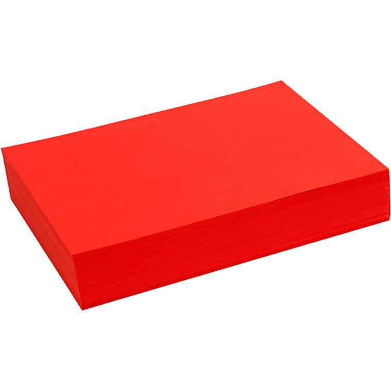 Creativ papir, A4 21x30 cm, 80 g, rød, , 500ark
