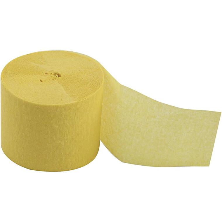 Crepepapir ruller - Gul - Bredde 5 cm - Længde 20 m - 20 ruller