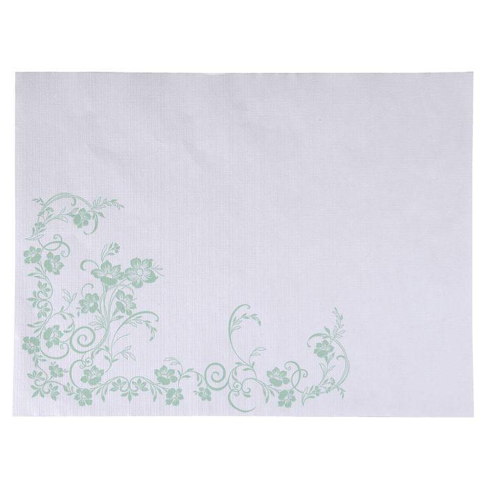 Dækkeserviet, Katja, 1-lags, hvid/grøn, papir, 30cm x 40cm