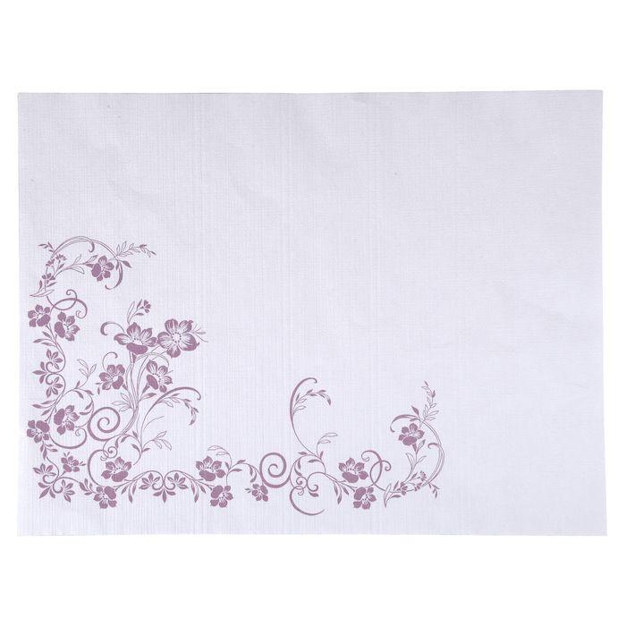 Dækkeserviet, Katja, 1-lags, hvid/lilla, papir, 30cm x 40cm
