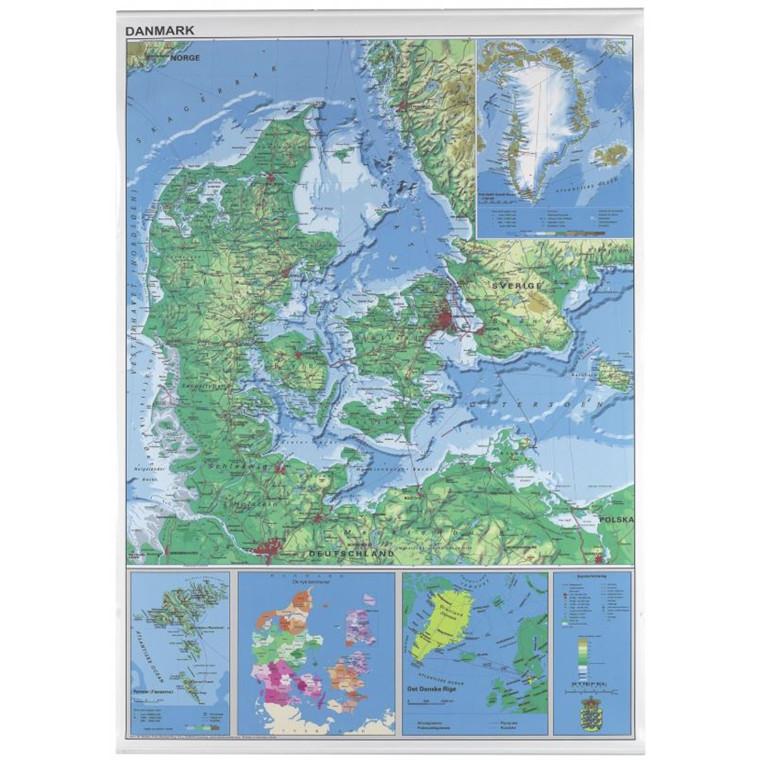 Danmarkskort plakat - lamineret 970 x 1370 mm