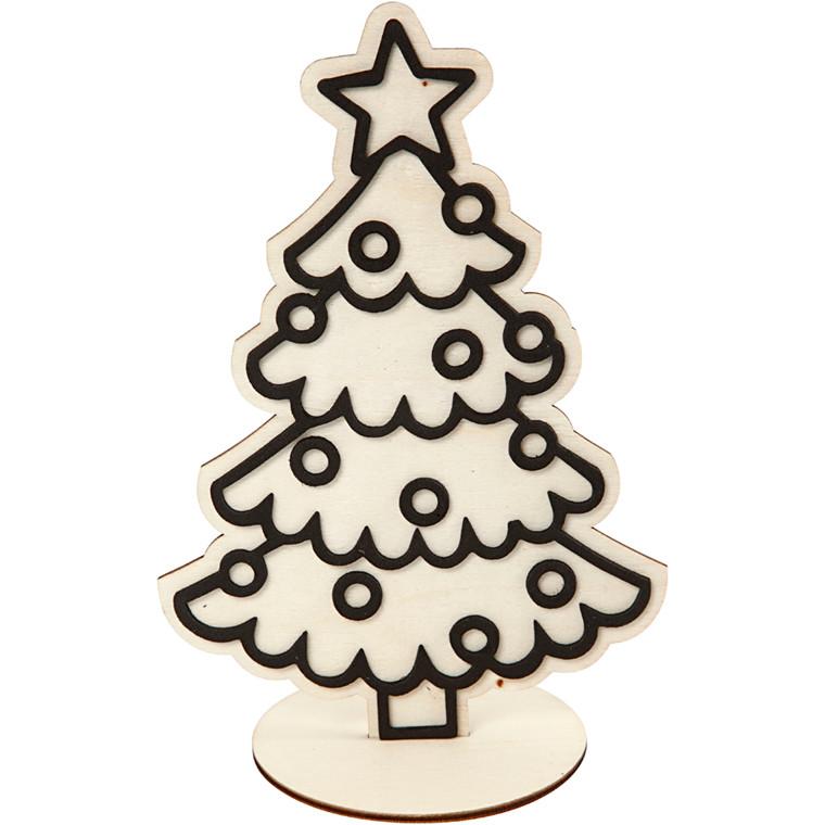 Dekorationsfigur, juletræ, H: 19,5 cm, 1stk.