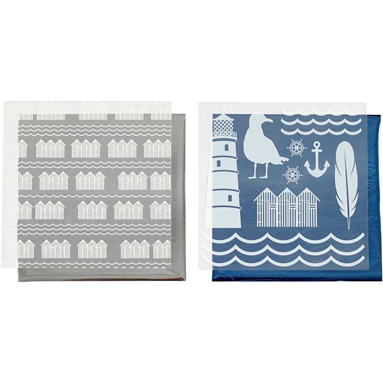 Dekorationsfolie og design limark, ark 15x15 cm, blå, sølv, fyrtårn, 4ark