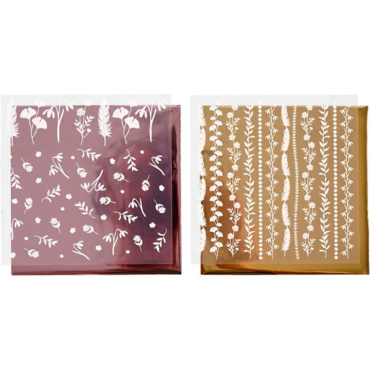Dekorationsfolie og design limark, ark 15x15 cm, guld, rosa, 2x2ark