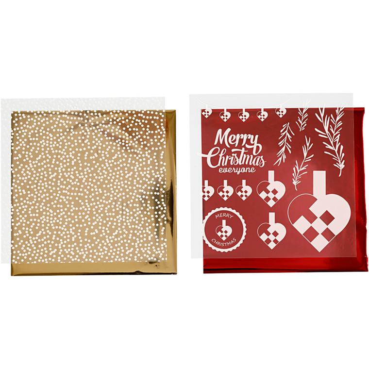Dekorationsfolie og design limark, ark 15x15 cm, hvid, guld, rød, flettehjerter, 4ark