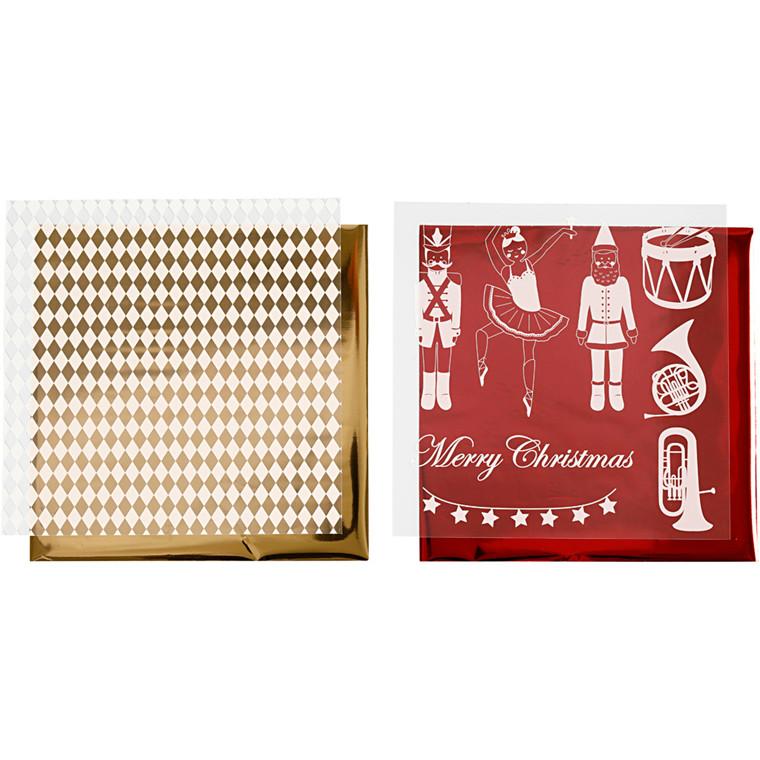Dekorationsfolie og design limark, ark 15x15 cm, hvid, guld, rød, nøddeknækker, julemand og ballerina, 4ark