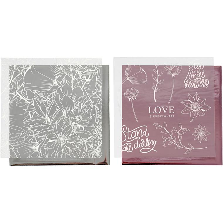 Dekorationsfolie og design limark, ark 15x15 cm, sølv, rosa, blomster, 4ark