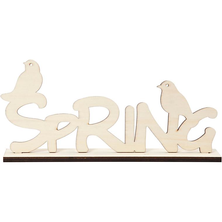 Dekorationsord, Spring, H: 13,5 cm, L: 29 cm, krydsfiner, 1stk., tykkelse 5 mm