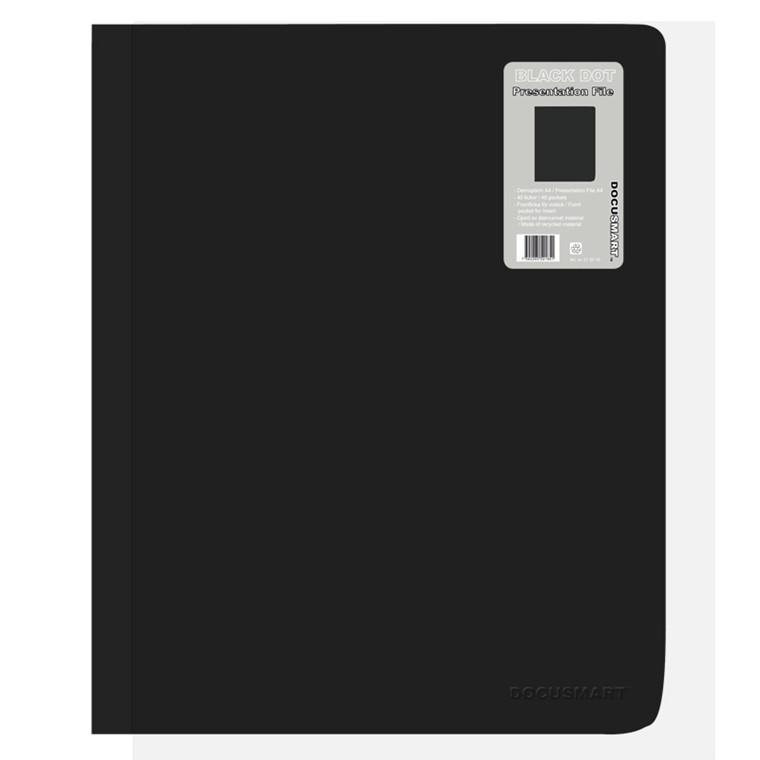 A4 Demomappe med forsidelomme sort BNT - med 40 lommer