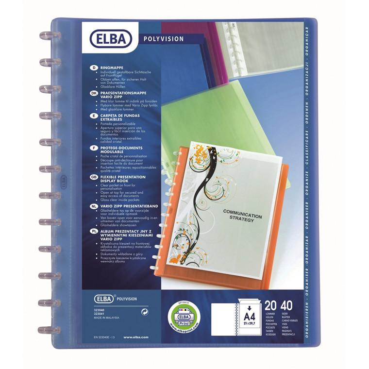 Demonstrationsmappe A4 ELBA med forside og 10 lommer - Blå