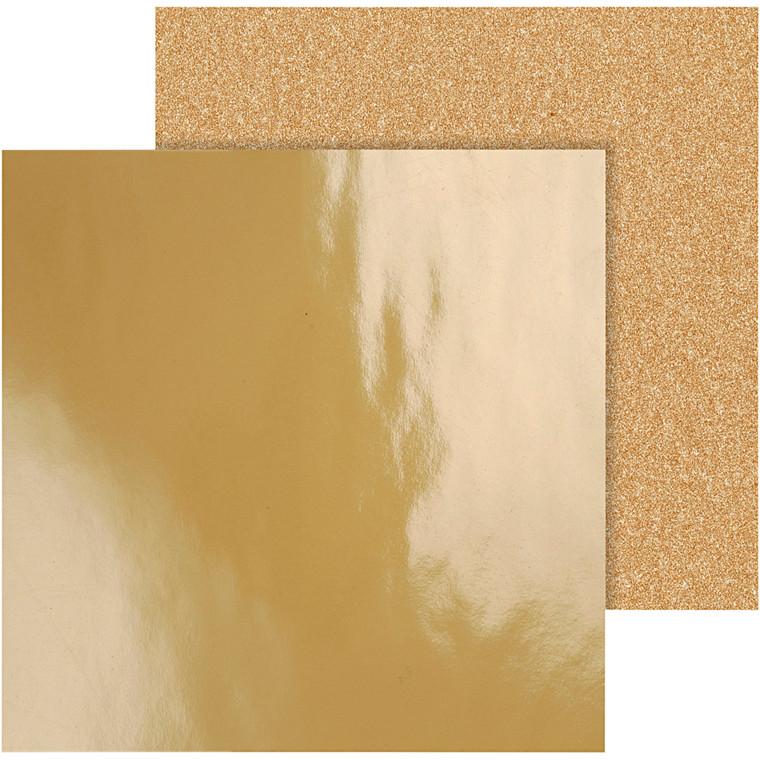 Designpapir, ark 30,5x30,5 cm, 120+128 g, guld, Copenhagen, 2ass. ark