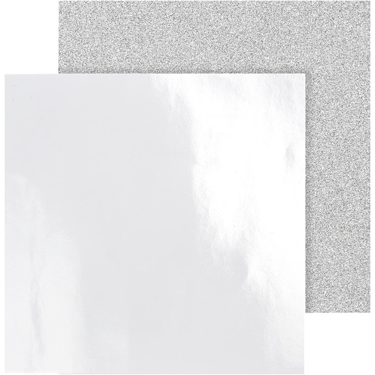 Designpapir, ark 30,5x30,5 cm, 120+128 g, sølv, Skagen, 2ass. ark