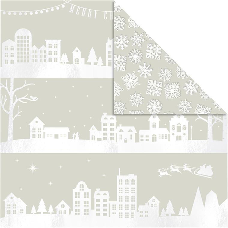 Vivi Gade Designpapir huse og snekrystaller ark 30,5 x 30,5 cm 180 gram | 3 ark