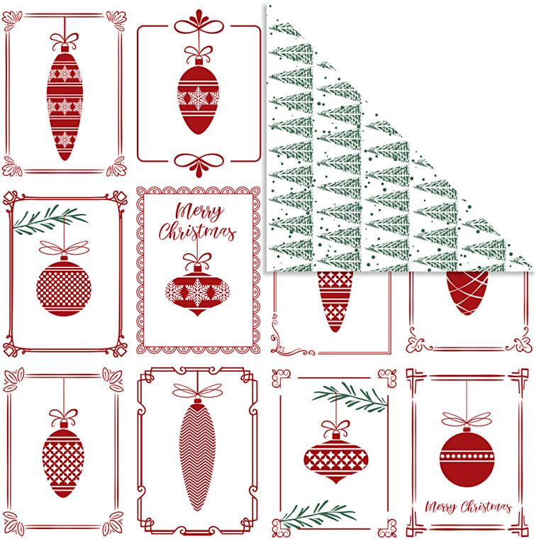 Designpapir Vivi Gade julekugler og juletræer ark 30,5 x 30,5 cm 180 gram | 5 ark